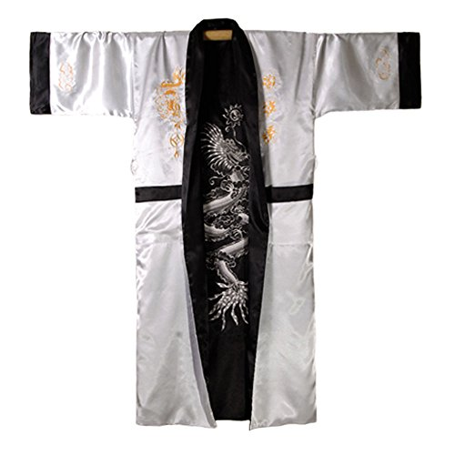 Japanischer Wende-Kimono Satin Morgenmantel für Damen & Herren -