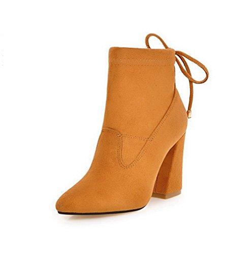 VogueZone009 Damen Niedrig-Spitze Gemischte Farbe Schnüren Hoher Absatz Stiefel, Cremefarben, 43
