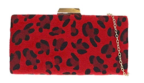 Girly Handbags Caja leopardo del bolso de embrague duro (Rojo)