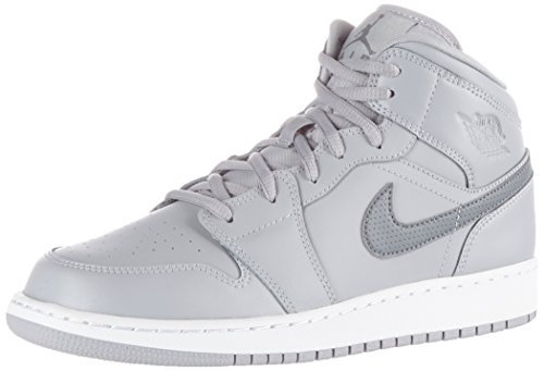 Nike Unisex-Kinder Air Jordan 1 Mid Bg Basketballschuhe, Grau (Wolf Grey/Cool Grey/White), 38 EU