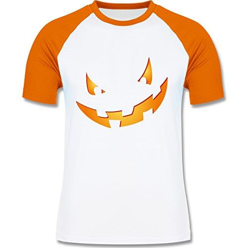 Halloween - Kürbisgesicht klein Pumpkin - zweifarbiges Baseballshirt für Männer Weiß/Orange