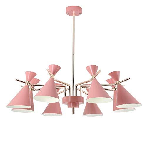Nordic moderne einfache Pendelleuchten lustres Wohnzimmer Kinderzimmer LED-Lampe bunter Metallhangling Lampenschirm in der Dekoration zu Hause, gelb, 10 Lampen -