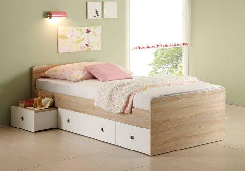 Jumbo-Möbel Kojenbett WIKI Eiche Sonoma / weiß, Bett 90 x 200 -