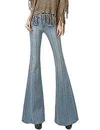 77dbfa0f1c Yonglan Vaqueros De Mujer Cintura Alta Ocio Jeans Pierna Ancha Slim Fit  Denim Pantalones Acampanados Zarco