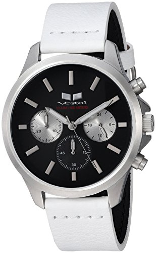 Vestal 'Heirloom Chrono' Quartz Stainless Steel and Leather Dress Watch, Color:White (Model: HEI39CL04.WH)