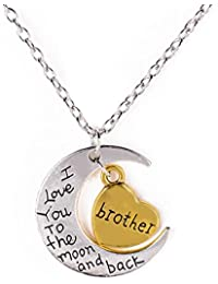 Happy GiftMart Silver Moon I Love You To The Moon And Back Pendant Chain Necklace For Brother Bro