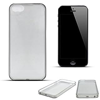 Moozy Dünnste in der Welt Ultra dünne Super Slim Premium Silikon Handy Hülle / Schutzhülle für Apple iPhone 5 5S SE Transparent Grau