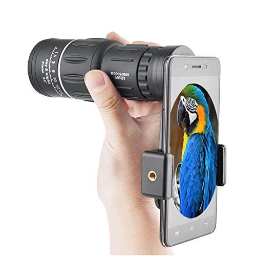 MAI&BAO Monokulares Teleskop (40X60) Wasserdichtes Zielfernrohr mit Smartphone-Adapterhalterung für Wildtiere wie Vogelbeobachtung, Reisen, Konzert, Sport, Schwarz