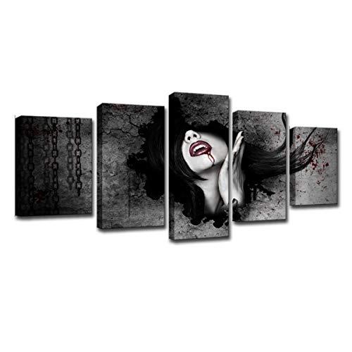 Wandkunst, Moderne Wandkunst Leinwand HD Gedruckt Gemälderahmen Modulare Abstrakte Bilder Wohnkultur, 5 Stücke Vampir Menschen Mädchen Poster,CanvasFrame,XL