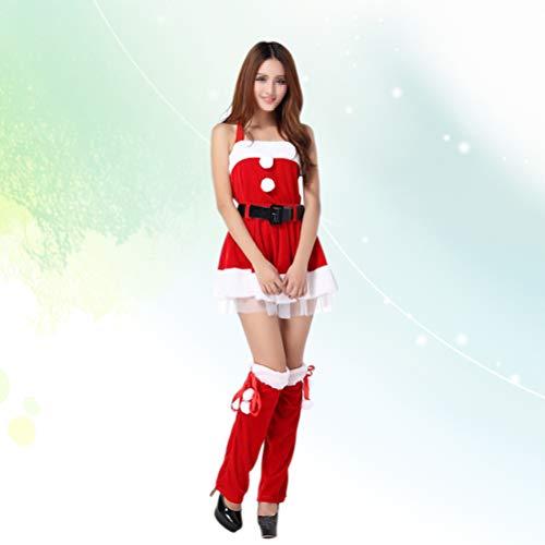 Claus Kostüm Babys Mrs - Amosfun 1pc Weihnachtskostüm Cute Sexy Adorable Mrs. Santa Claus Suit Miss Santa Costume Weihnachten Cosplay Dress for Holiday Festival