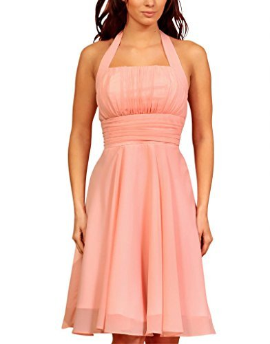My Evening Dress - Kurzes Chiffon Cocktailkleid Neckholder Abendkleid Ball Gerüscht Rosa