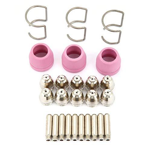 AG60 SG55 Plasmaschneider, 26 Teile/Satz AG60 SG55 Plasmaschneider Schneidbrenner Verbrauchsmaterial Elektrodendüsen Becherset 10 Elektroden 10 Düsen 3 Keramikschutzbecher 3 Führungsringe