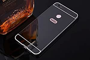 AE (TM) Luxury Metal Bumper + Acrylic Mirror Back Cover Case For Letv LE 1S BLACK PLATED