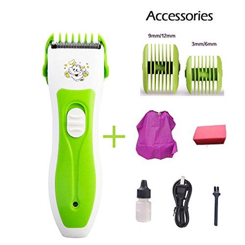 Professionelle Ultra Leise Elektrische Hair Clipper Haarschneidemaschine wiederaufladbar haircuting Kit abnehmbarer Cutter Head Haarschnitt für Baby Kids Kinder und Erwachsene (Geen und weiß)