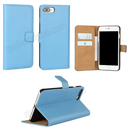 AMO® New différentes couleurs Portefeuille en cuir véritable étui livre avec support Coque pour iPhone 44G 5G 5C 66PLUS, Cuir, bleu, 6 PLUS