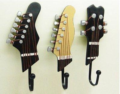 landsell 3piezas toalla de gancho perchero de pared colgador guitarra forma Vintage resina gancho gancho titular de la clave con tres ganchos