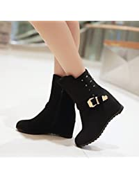 Zapatos de mujer polar tacón de cuña cuñas/moda botas/punta redonda botas vestido/casual negro/azul/marrón/rojo, rojo, us6 / eu36 / uk4 / cn36