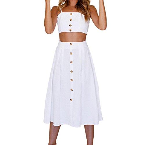 Vestidos Mujer, Amlaiworld Vestidos Mujer Verano Conjunto de Falda Mujer Vacaciones Bowknot Encaje Playa Botones Tops Chaleco y Falda Conjuntos Vestido de Playa (Blanco, S)