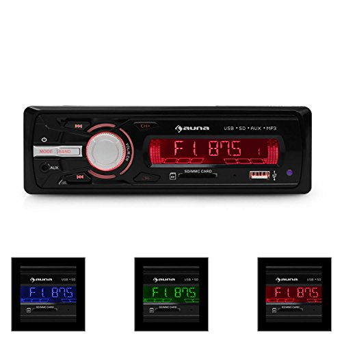 auna MD-120.2BK • Autoradio • Car-Radio • Car-HiFi-Set • USB-Slot • SD/MMC-Speicherkarten-Slot • UKW-Radiotuner • MP3 • 3,5mm-Klinke-AUX-Eingang • 2 x Stereo-Cinch-Line-Ausgang für 2- oder 4-Kanal Endstufen • Leistung 4 x 75 W max. • Fernbedienung • schwarz