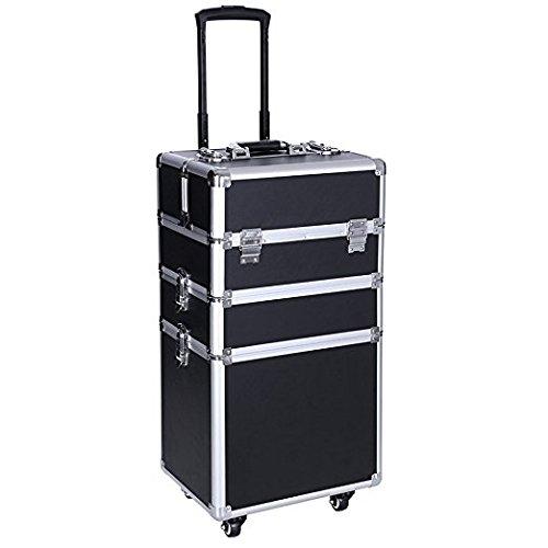 Friseur-trolley Box (Kosmetikkoffer Make-up Trolley Fällen 3 in 1 Aluminium Rollen Kosmetik Veranstalter Box Abnehmbar Tabletts Gute Qualität Professional Künstler Zug Fall Mit 4-Rad)