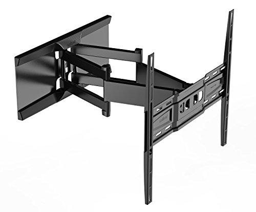 Meliconi SlimStyle 400 SDRP, Supporto Doppio Braccio Ultra Sottile da Parete per Tv a Schermo Piatto da 32'' a 65'', orientabile orizzontalmente e verticalmente, VESA max 200x200, 300x300, 400x400, Nero