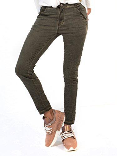 Oliven-capri-hosen (BIANCO JEANS Damen Hose Alison - Relaxed geschnittene Jeans in extravaganten Waschungen - Olive - 36)