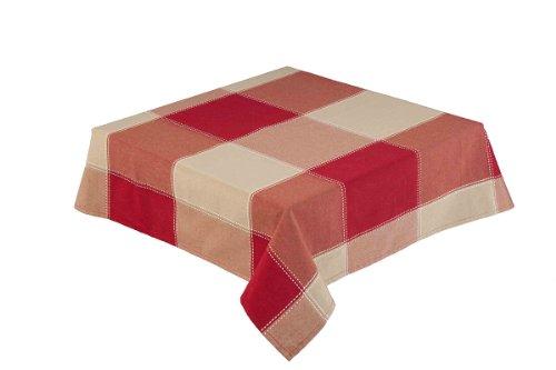 132,1cm quadratisch (132) rot/natur groß kariert Tischdecke (Republik 59922) (Bettwäsche Tischdecke Quadratische Rosa)