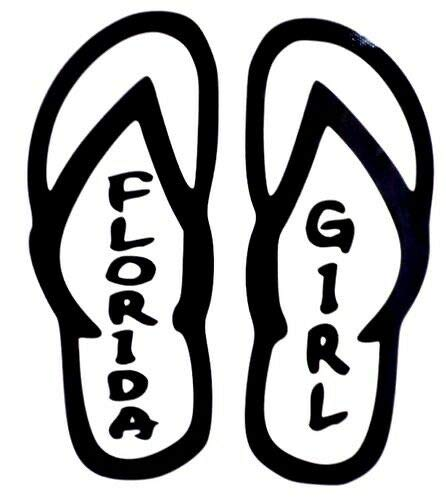 Yilooom Flip Flops Florida Girl Sexy Cool Sticker for Car Truck Bike Window Sticker Vinyl Decal Vehicle Stickers Car Styling Accessories - 6 Inches - 2 Pack -