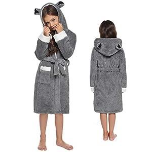 Sykooria Albornoz para niños Bata de Franela con Capucha Suave con Lindas Orejas de Animales Kimono de Manga Larga 10