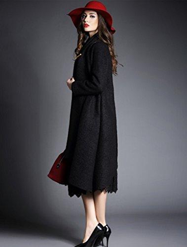 Vogstyle Femme Manteau en Laine à Manches Longues Trench Cardigan Noir
