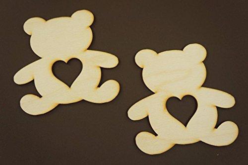 10x Teddy Bär blank Form Holz Basteln Malen Dekoration Wohnen W89 (Teddy Bär Form)