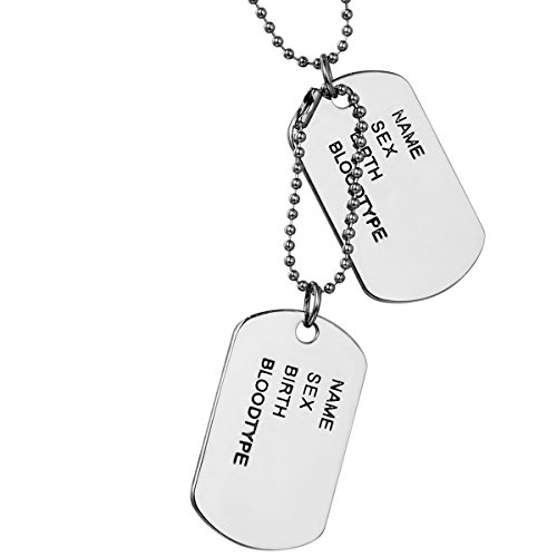 Flongo Joyería Colgante Collar Dog Tag Placa de Identificación Estilo Ejército Militar los EE.UU. Hombre