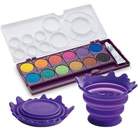 LAMY Deckfarbkasten aquaplus mit 12 Farben / Schul-Set (+ Wasserbecher, Violett)