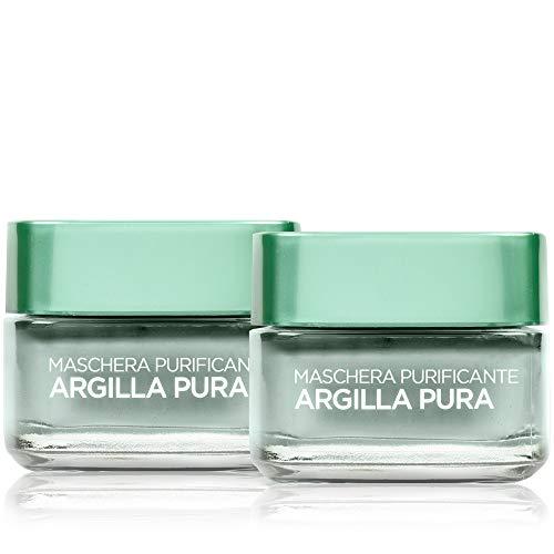 L'Oréal Paris Detergenza Maschera per il Viso, Argilla Pura Purificante con Eucalipto, Purifica e Opacizza la Pelle, 50 ml, Confezione da 2 Pezzi