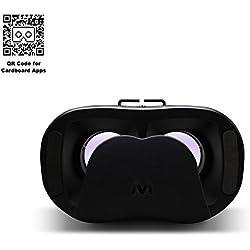 VR-PRIMUS VRs - Gafas de realidad virtual - Para smartphones Android e iOS como iPhone, Samsung Galaxy, HTC, Sony, LG, Huawei, Motorola, ZTE, Pixel y más - Compatible con Google Cardboard Apps - 3D Auriculares de realidad virtual para móviles - Gafas VR / RV para smartphone - ( negro )