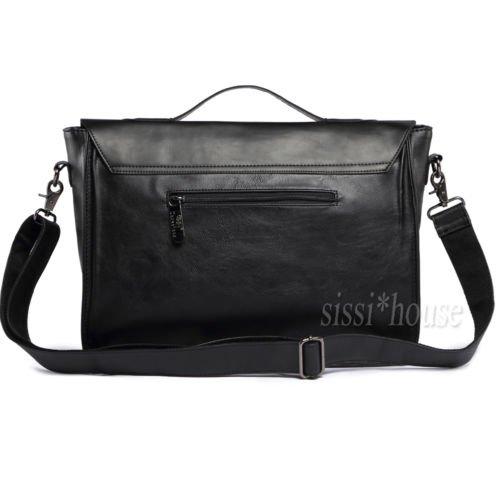 emotree 1X Vintage antico signore borsa Laptop Borsa a tracolla in pelle borsa a tracolla borsa da lavoro nero nero nero