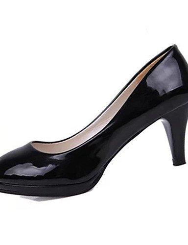 GS~LY Damen-High Heels-Lässig-Lackleder-Stöckelabsatz-Absätze-Schwarz / Weiß / Mandelfarben white-us8.5 / eu39 / uk6.5 / cn40