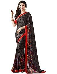 Pramukh Saris Women's Georgette Saree With Blouse Piece (Pms11 Black)