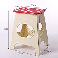 GE&YOBBY Folding step stool,Plastic portable footstool Cute fordable foot rest Cartoon mushroom design Necessary for travel and home-Red B 33x26x46cm(13x10x18inch)