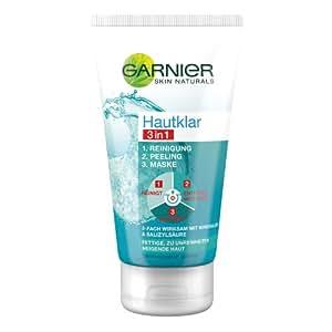 GARNIER Hautklar 3in1 Gesichtsreinigung + Peeling + Gesichtsmaske / Gesichtspflege gegen Pickel und Unreinheiten, 1er Pack - 150 ml