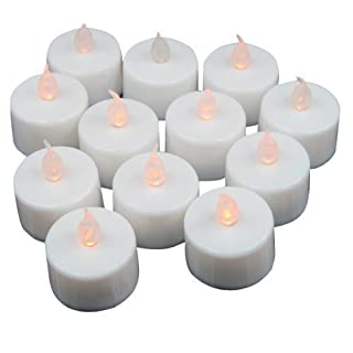 Accessotech 12 x LED Flickering Battery Operated Tea Light Candles Tealight Charm Safe