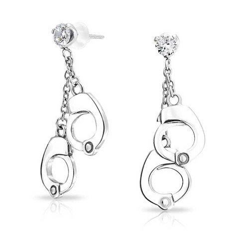 Secret Shades Clear CZ Handcuffs Dangle Earrings 316L Steel