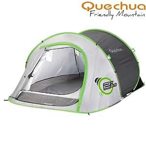 quechua 2 seconds ii grau wurfzelt mit beleuchtung. Black Bedroom Furniture Sets. Home Design Ideas