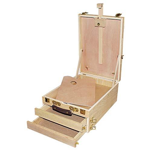 Chevalet avec Palette - H37x W27x D16 cm Boitier Chevalet de Table Repliable pour le Dessin et la Peinture avec Compartiments pour Palettes, Peintures à l'Huile, Acrylique, Aquarelle Pinceaux