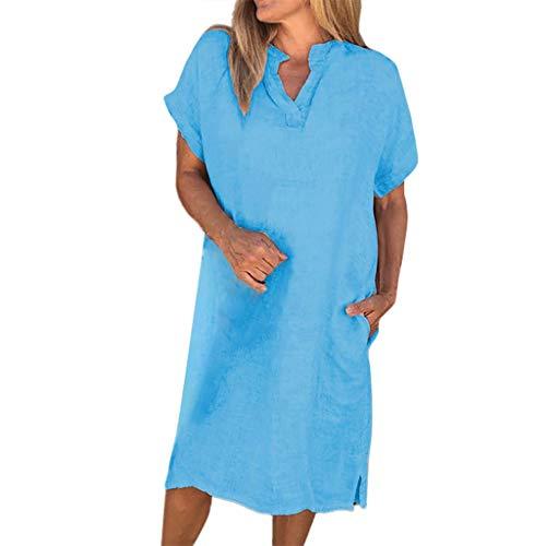 POPLY T-Shirts Kleid für Damen Frauen Einfache Baumwolle Leinen Kurzarm V Ansatz Kleider Beiläufiges Einfarbig Blusenkleid Lange Tops (Blau,L)
