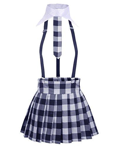 Avidlove Damen Sexy Schulmädchen Kostüm mit Krawatte Minirock Ouvert Babydolls Cosplay Uniform Dessous Set Halloween Kostüm Dunkelblau L