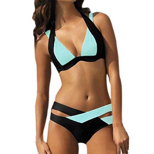 Internet Damen Elegant Weiß und Schwarz Bikini-Sets Neckholder Push-up Bademode Zweiteilig Strandmode (Himmelblau, XXL)