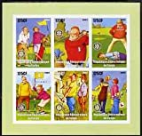 Congo 2003 Comic Golf imperf sheetlet 6 x 125 cf values each with Rotary Logo, u/m ROTARY SPORT GOLF COMEDY CARTOONS JandRStamps