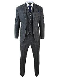 Herrenanzug 3 Teilig Grau Fischgräte Tweed Design Klassisch Eng Tailliert Vintage