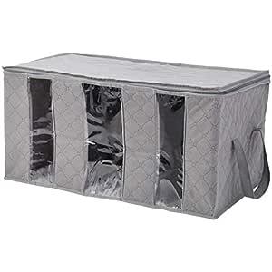 Amazon Brand - Solimo Fabric Under Bed Organiser, Grey